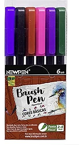 Caneta Brush Pen, Newpen, 17.068, Aquarelável, 6 Cores