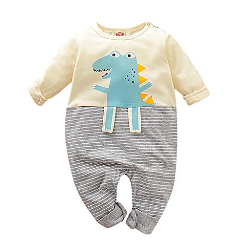 Julhold Infant Neonato Ragazzi Ragazze Cute Casual Cartoon Dinosauro A Righe in Cotone Pagliaccetto Tuta Outfits 0-24 Mese