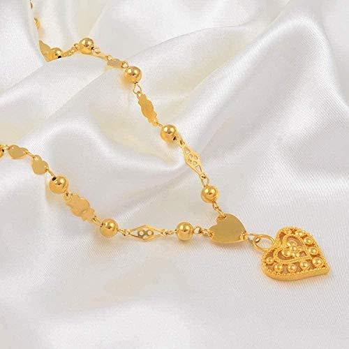 NC198 Collar Micronesia corazón Colgante Collares Cadena de Cuentas de Bolas para Mujeres niñas Color Dorado Guam Hawaii Marshall joyería
