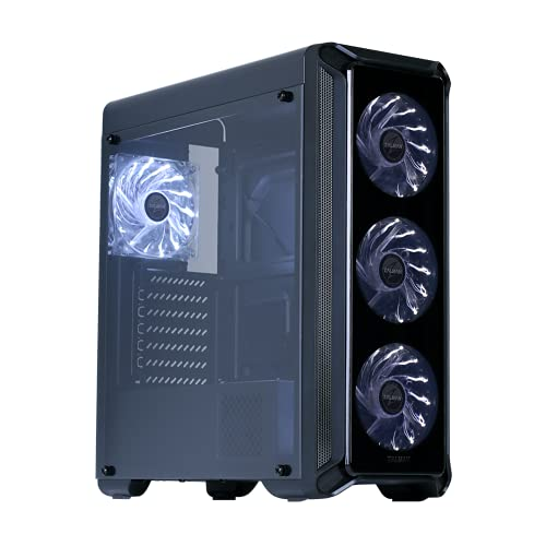 Zalman i3 Edge ATX Mid Tower Gaming PC Case with 4 x 120mm White LED Fans, Acrylic Side Window, Excellent Cooling Performance, Simple Design with Front Airflow, USB 3.0, Black