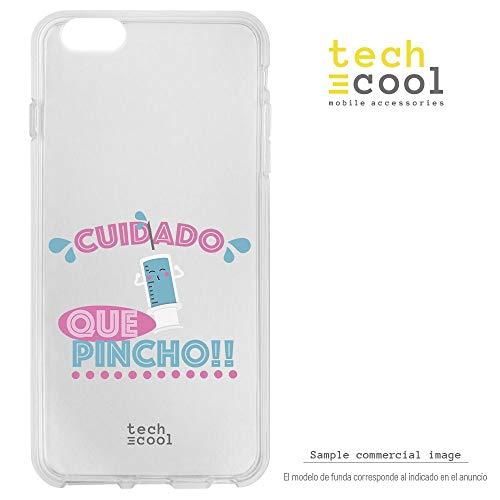 Funnytech® Coque pour Iphone 5 / 5S / Se l Housse TPU Silicone [Design Exclusif, Impression Haute Définition] [Couleurs Très Vives] [Cuidado Que pincho vers.1 transp]