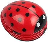 Cute Portable Beetle Ladybug Cartoon Mini Desktop Vacuum Desk Dust Cleaner(Red#002) (Renewed)