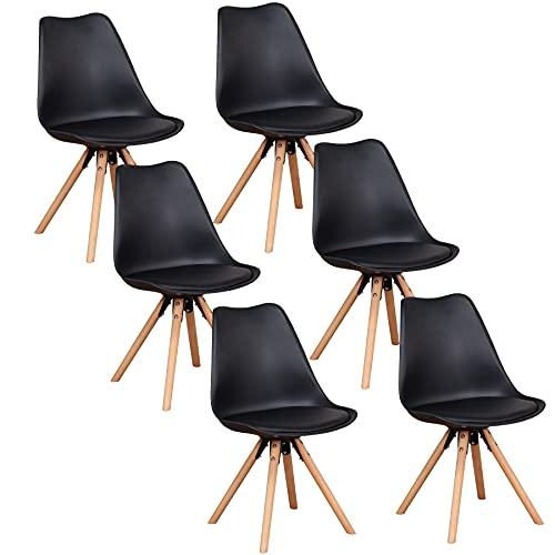 GrandCA HOME Holzgestell Esszimmerstuhl 6er Set, aus Kunstleder Nordisch Design Stuhl, Küchenstuhl, schminktisch-6 (Schwarz-6 stühle)