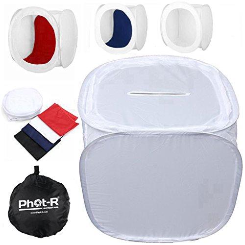 Phot-R P-PL80C 80 x 80 x 80 cm Professionelle Fotografie Foto-Studio-Licht-Cube Zelt Softbox mit 4 farbige Hintergründe (schwarz/blau/rot/weiß) und Tragetasche schwarz
