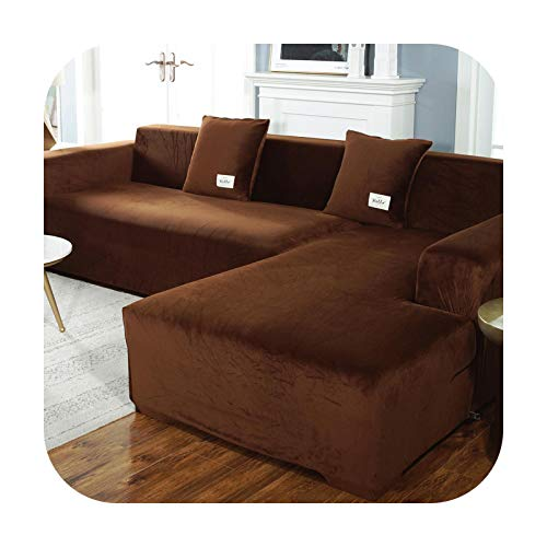 Sofa covers Elasticated Plush for Living Room Velvet Corner Armchair Couch Pleads Cover Sets Angle 3 Seater L Shape Furniture-Brown-2 Seats 145-185Cm