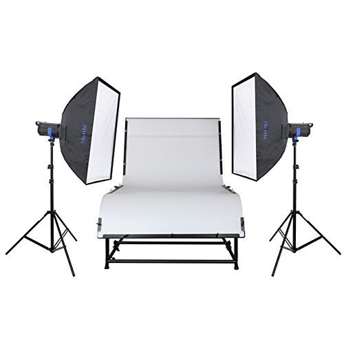 METTLE Studioset DAKOTA FLASH mit Profi-Aufnahmetisch 240x130 cm - SET mit Studio-Blitz Beleuchtung Softboxen für Produktfotografie