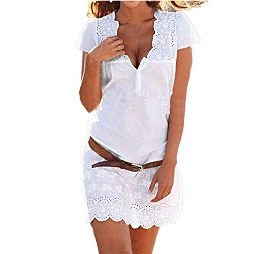 Vestiti Donna Eleganti Estivi Vintage Hippie in Pizzo Manica Corta V Scollo Tinta Unita Mare Corti Abito da Cerimonia Cocktail Moda Casual Spiaggia Camicia Vestito Vestitini Abiti