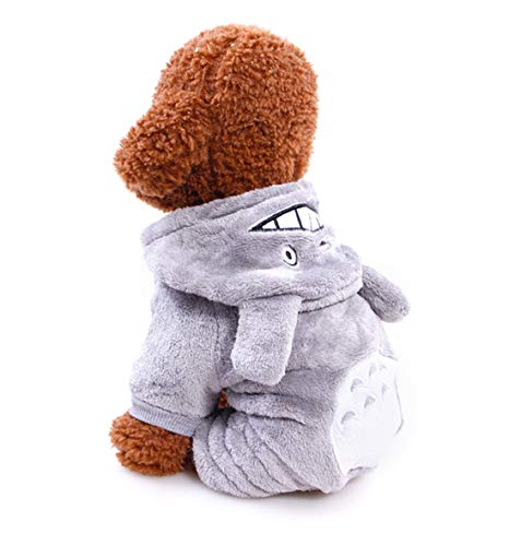 Qianmome Cute Cartoon Turned Small Dog Clothes Winter Warm Pet Four Legs Clothing Hoodie Dog Coat Jacket Pet Christmas Costume Teddy (XS, Totoro)