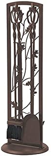 "Panacea Fireplace Tool Set 5 Piece, Oak Leaf 30"", Colonial Brown"