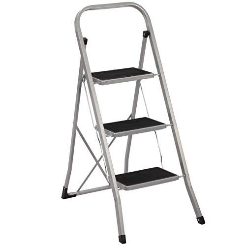 Ribelli Trittleiter 3 Stufen Leiter Klapptritt Klappleiter Klapptreppe Tritt Haushaltstritt Stehleiter Sprossenleiter klappbar faltbar bis 150 kg