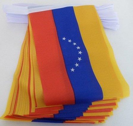 AZ FLAG Guirnalda 6 Metros 20 Banderas de Venezuela SIN Escudo 21x15cm - Bandera VENEZUELANA SIN Armas 15 x 21 cm - BANDERINES