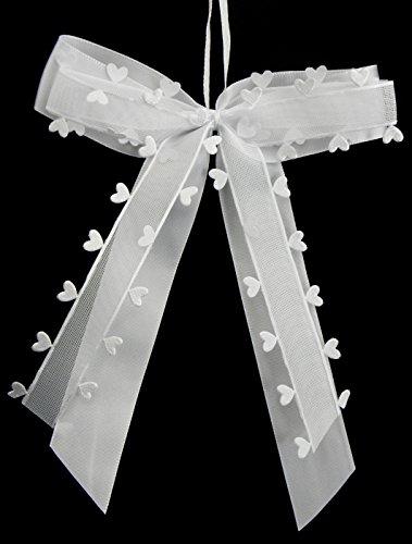25 Antennenschleifen Autoschleifen Weiß mit Herzen N26 I Handgemacht I Satinband I Autoschmuck Hochzeit Schleifen Star-LINE®