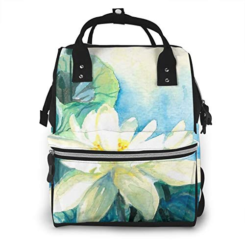 Risating Mummy Backpack - White Flower Baby Changing Bags Multifunction Waterproof Twill Canvas for Baby Care