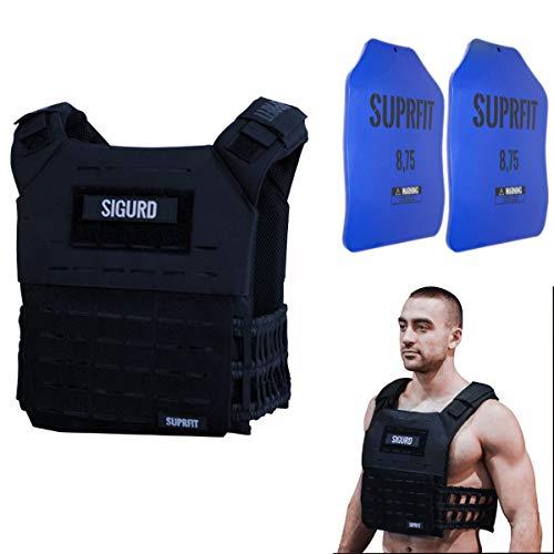 Suprfit Sigurd 3D Gewichtsweste - Basisgewicht: 1 kg, Zusatzgewicht: 2 x 4 kg, Maximalgewicht: 17 kg, Navy Blau, Laufweste Cross Training Krafttraining, Unisex