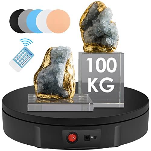 KOSIEJINN Base Giratoria Eléctrica 30cm 100kg Plataforma Rotatoria Profesional 360° con Mando a Distancia Mesa giratoria eléctrica para fotografía automática para Mostrar Producto Negro