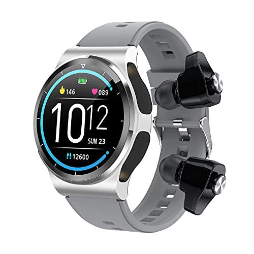 Fhdisfnsk Reloj Inteligente 2 En 1 TWS Auricular con Oxígeno En Sangre Monitor de Sueño de Frecuencia Cardíaca Llamada BT/Música Deportes Hombres Mujeres Reloj Inteligente