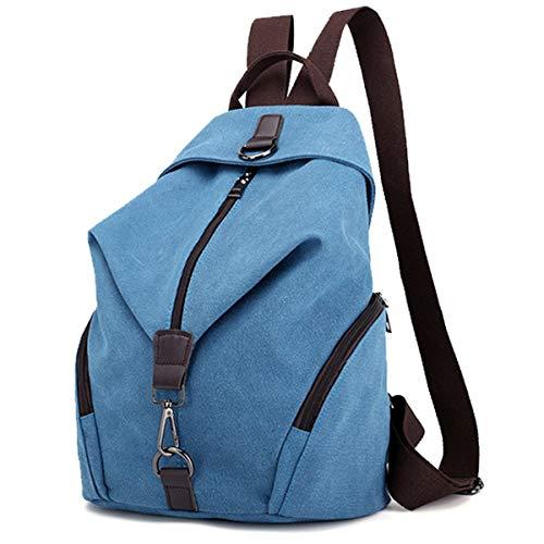 JOSEKO Frauen Leinwand Rucksack, Canvas Tasche Rucksäcke Damen Umhängentasche Große Kapazität Reisetasche Vintage Schultasche für Reise Outdoor Schule(Himmelblau)