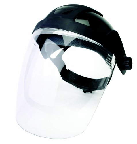 Sellstrom S32010 Black Crown and Clear Anti-Fog Window Face Shield with Adjustable Ratchet Headgear, Lightweight, Universal