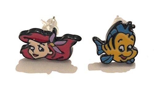 giulyscreations Orecchini Metallo Nichel Free La Sirenetta The Little Mermaid Lobo Ariel Flounder Cartoni Animati Anime Fantasy Cosplay