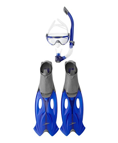 Speedo Unisex-Erwachsene Glide Set aus Maske Schnorchel Und Flossen, Grau/Blau, 37-38