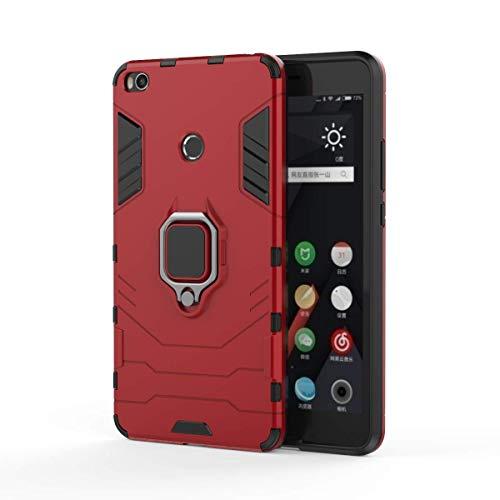 Funda Xiaomi Mi MAX 2 Carcasa Silicona Suave Negro TPU y Duro PC Case Anti-Arañazos, Anti-Golpes, con Anillo Grip Kickstand y Soporte de la función de Montaje teléfono Case (Mi MAX 2, Rojo)