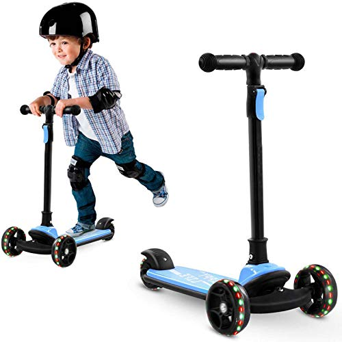 Kids 3 Wheeled Scooter, Foldable & Height Adjustable, and Featuring LED Light-Up Wheels, Suitable for Children Aged 3-8, Balance Bike Toy.