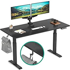 """【ELECTRIC HEIGHT ADJUSTABLE】- EleTab Height Adjustable Electric Standing Desk has 4 preset buttons to customize your desired heights from 27.6"""" to 46.5""""(tabletop included) and memory it with a couple of pressing. 【ELEGANT WORKSPACE】 - The large work ..."""