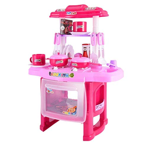 YLLN Premium Toy Kitchen Playset, mini juego de más de 20 piezas con sonidos realistas, fregadero de microondas, accesorios para utensilios, juguetes educativos de simulación, para niños de 1 a 3 años