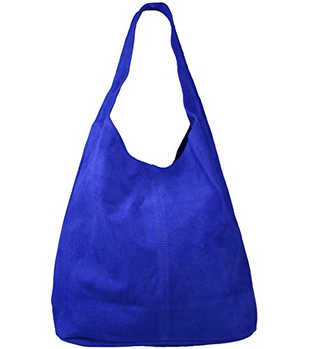 Freyday Damen Ledertasche Shopper Wildleder Handtasche Schultertasche Beuteltasche Metallic look (Royalblau)