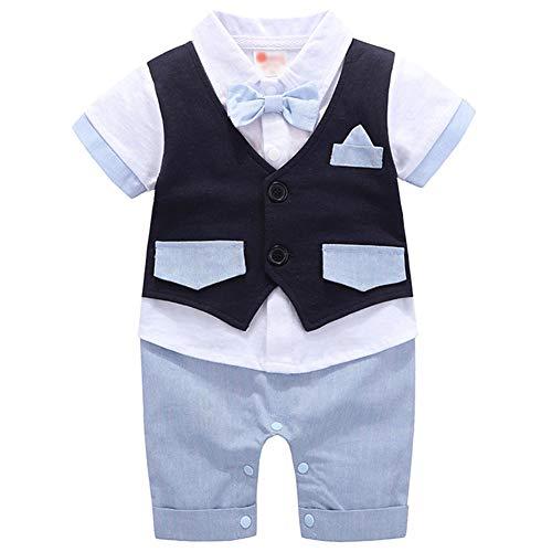 G-Kids Baby Jungen Strampler Smoking Gentleman Anzug EinteilerKurzarm Outfits Sommer Kleidung Jumpsuit Spielanzug Taufkleidung (Blau, 80/6-9 Monate)