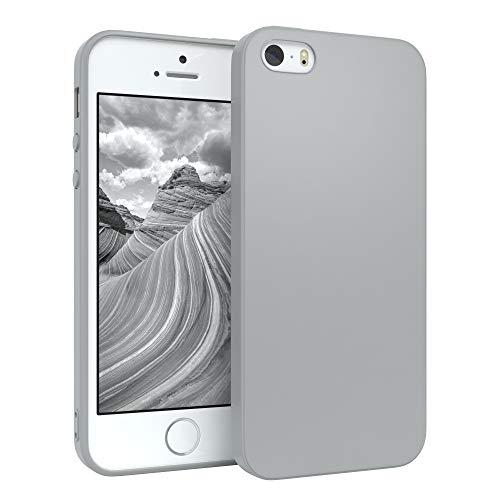 EAZY CASE Handyhülle Silikon mit Kameraschutz kompatibel mit Apple iPhone SE (2016) / 5 / 5S in Hellgrau, Grau, Ultra dünn, Slimcover, Silikonhülle, Hülle, Softcase, Backcover