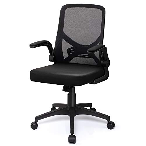 YECOOL Mid Back Mesh Office Chair Foldable Ergonomic Swivel Black Computer Desk Chair with Flip Up Arms Adjustable Height Lumbar Support Mesh Back Office Task Chair