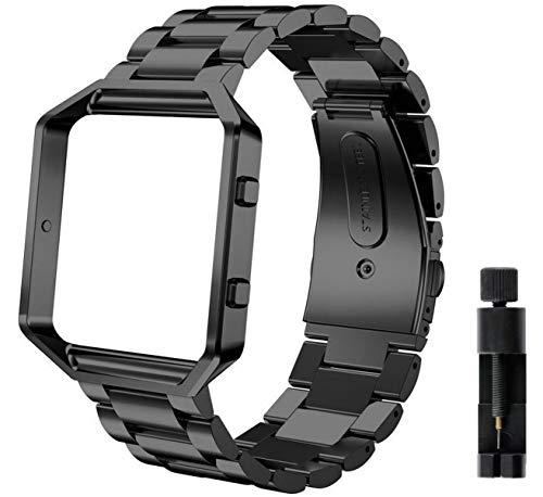 Valchinova - Cinturino di ricambio per Fitbit Blaze, in acciaio inox, con telaio in metallo, per uomo e donna, colore: nero