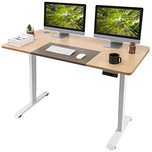 Homall Electric Height Adjustable Standing Desk 55 x 28 Inches Computer Desk Stand Up Home Office Workstation Desk T-Shaped Metal Bracket Desk with Wood Tabletop and Memory Settings (Beige)