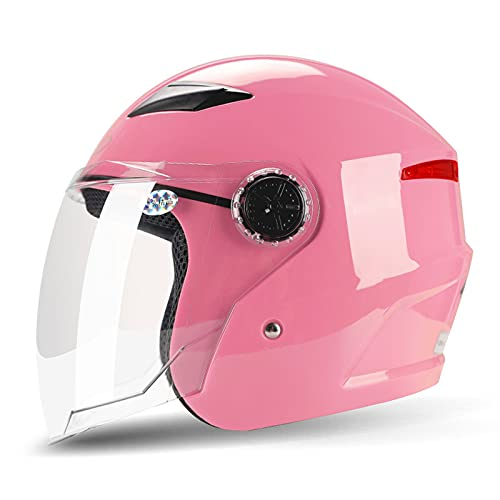 YAYT Medio Casco de Motocicleta con protección Solar, Color sólido/Multicolor Opcional, con Gafas antivaho 3/4 Cascos de Motocicleta para Adultos para Hombres y Mujeres aprobados por Dot/ECE (56-62cm