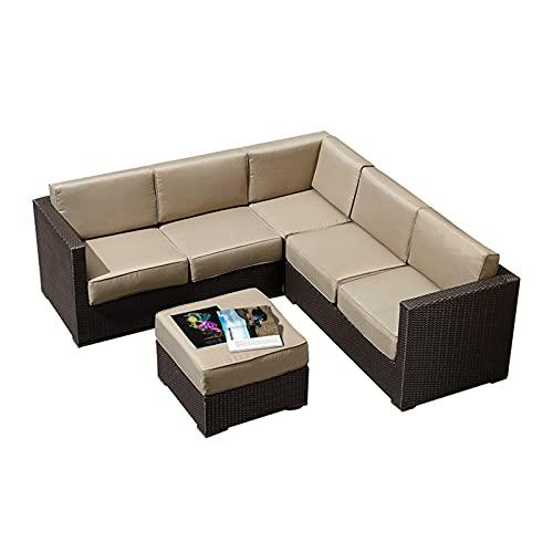 Conjunto de sofás Sofá De Ratán para Exteriores, Muebles De Sofá De Decoración De Jardín Suaves Y Cómodos, Sofá De Patio para Balcón Al Aire Libre Y Junto Al Mar(Size:Style 1)