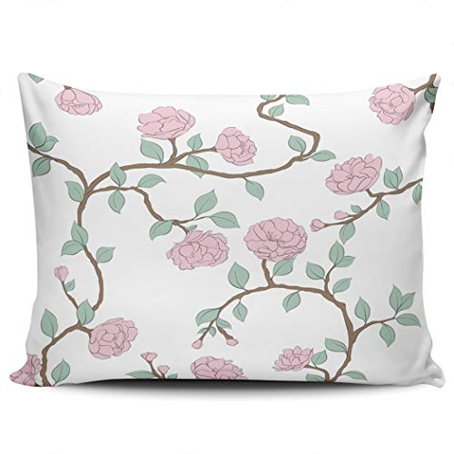 BBIE GODFR Decor Pillowcases Beautiful Pink Roses Flower Hidden Zipper Design Throw Pillow Covers Queen Size 20 X 30 inch Pillows Cushion Cover One Sided Print