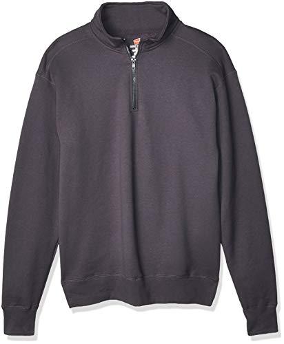Hanes Men's Nano Quarter Zip Fleece Jacket, Vintage Black, X-Large