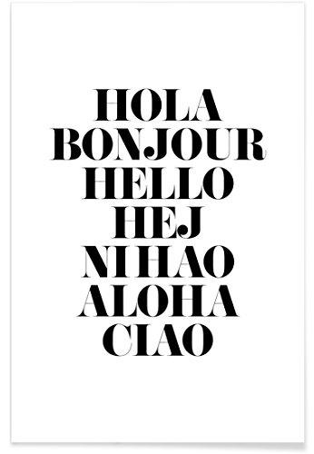 """JUNIQE® Zitate & Slogans Schwarz & Weiß Poster 20x30cm - Design """"Hellos"""" entworfen von Mottos by Sinan Saydik"""