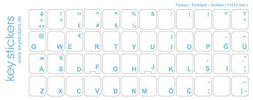 Keystickers® | Türkische Aufkleber für PC/Laptop & Notebook Tastaturen 11x13mm, transparent mit mattem Schutzlack, Farbe HELLBLAU | Klavye için Türk harfleri | Turkish Keyboard Stickers