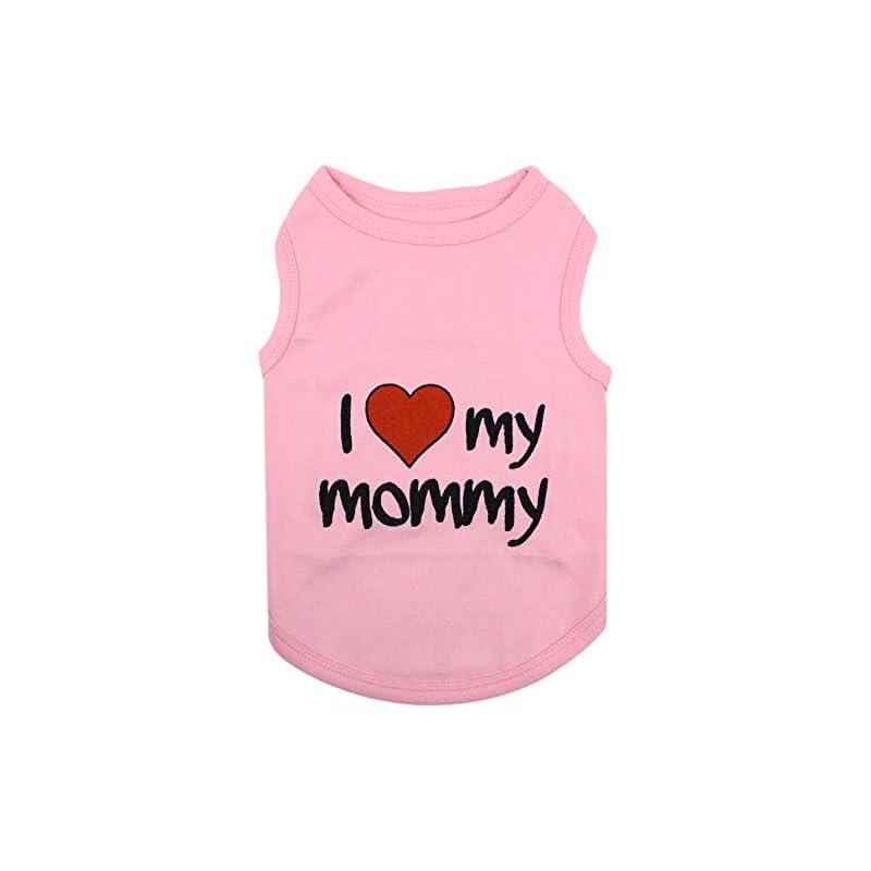 dog supplies online parisian pet dog cat clothes tee shirts i love mommy pink t-shirt, 4xl