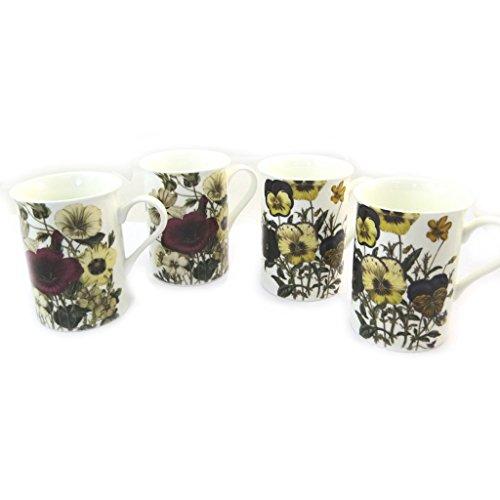 Les Trésors De Lily N3666 - Set mit 4 tassen 'Prairie Fleurie', rot, gelb.