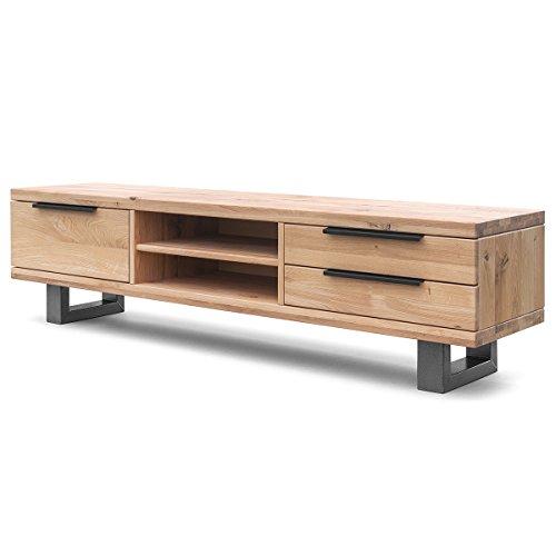 COMIFORT Mueble de TV - Mesa de Roble Macizo para Salón Moderno, Estilo Nórdico, con 3 Cajones y 2 Estantes, Patas de Acero con Acabado Negro, Color Dorado