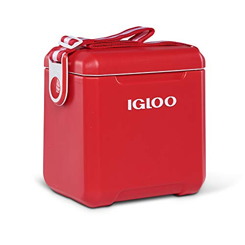 Igloo Tagalong 11 Quart Camping Outdoor Fishing Tailgate Insulated Ice Drink Bottle Cooler with Body Shoulder Strap, Red