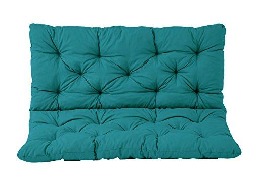 Ambientehome 2er Bank Sitzkissen und Rückenkissen Hanko, türkis, ca 120 x 98 x 8 cm, Bankauflage, Polsterauflage