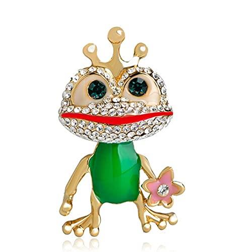 LHL Moda Animal Corona Rana Forma Broche Cristal Verde Esmalte Pernos Mujeres Partido Ropa Bolsa Sombrero Accesorios Niños