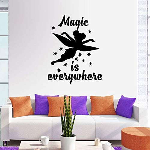 Magic Is Everywhere Tinkerbell Little Fairy Pixie Dust Tinkerbell Disney Movie Character Tinkerbell Silhouette Vinyl Wall Art Sticker DecorationFor Home Kids Baby Girl Children Room Size (30x30 inch)