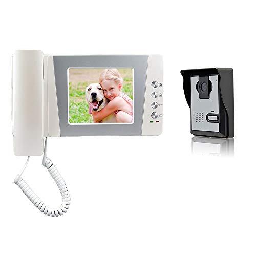 """Nudito Kit Videoportero universal para vivienda, Interfono Intercomunicador (1 Monitor TFT LCD a color de 4,3"""", 1 Unidad exterior con Cámara infrarroja con Visión Nocturna). Instrucciones en español"""