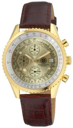 Constantin Durmont Navigator Diamond Gold NavGD-D - Reloj cronógrafo de caballero de cuarzo con correa de piel marrón