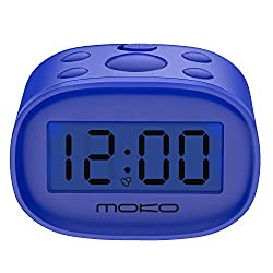 MoKo Kids Alarm Clock, High Accuracy Mini LCD Display Digital Clock Night Light Travel Bedside Alarm Clocks with Snooze Time Backlight Electronic Home Office Table Clock - Blue